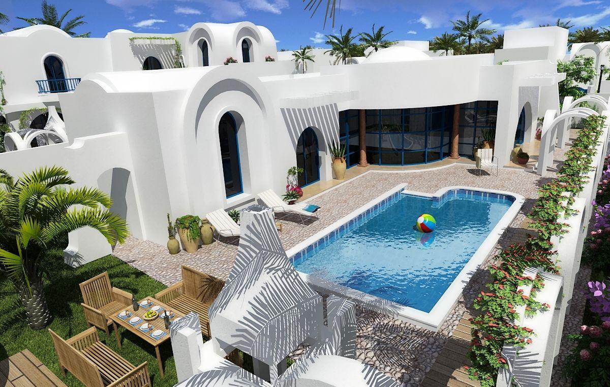 Villa a vendre a djerba proche plage vente villa aghir for Prix piscine traditionnelle