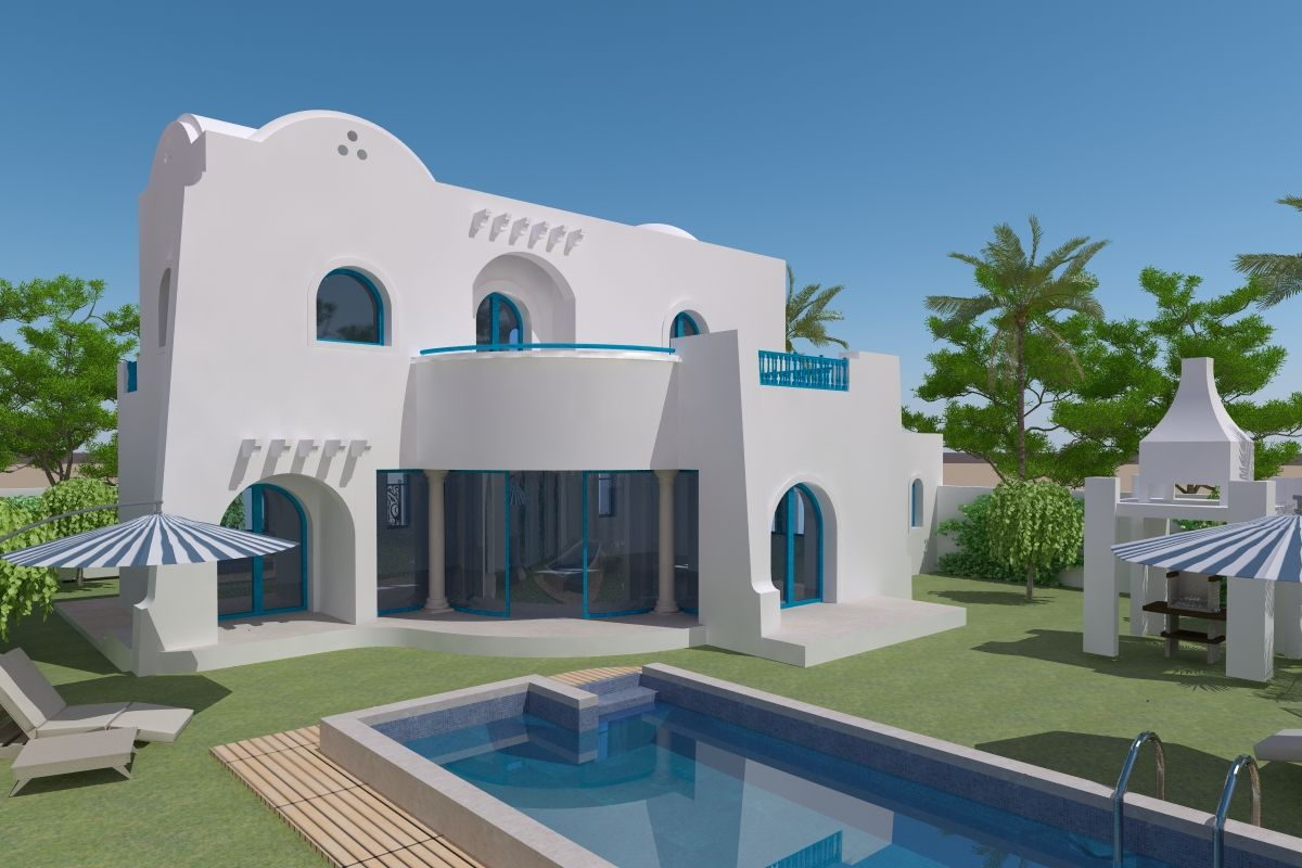 Villa avec piscine 300m plage vendre djerba zone for Recherche villa avec piscine