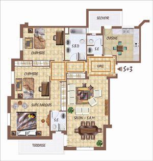 plan de maison s+3 en tunisie