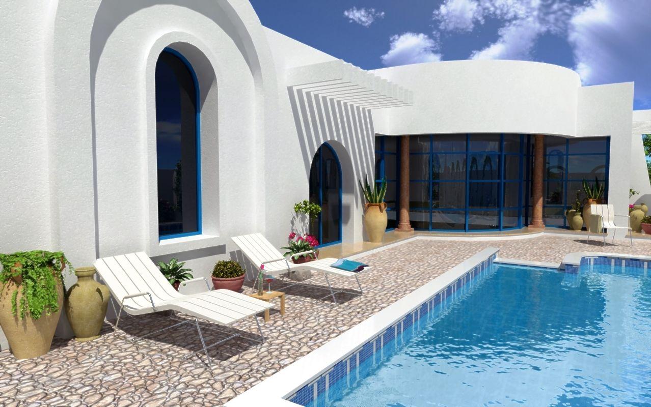 Villa a vendre a djerba proche plage vente villa aghir for Plan maison tunisie