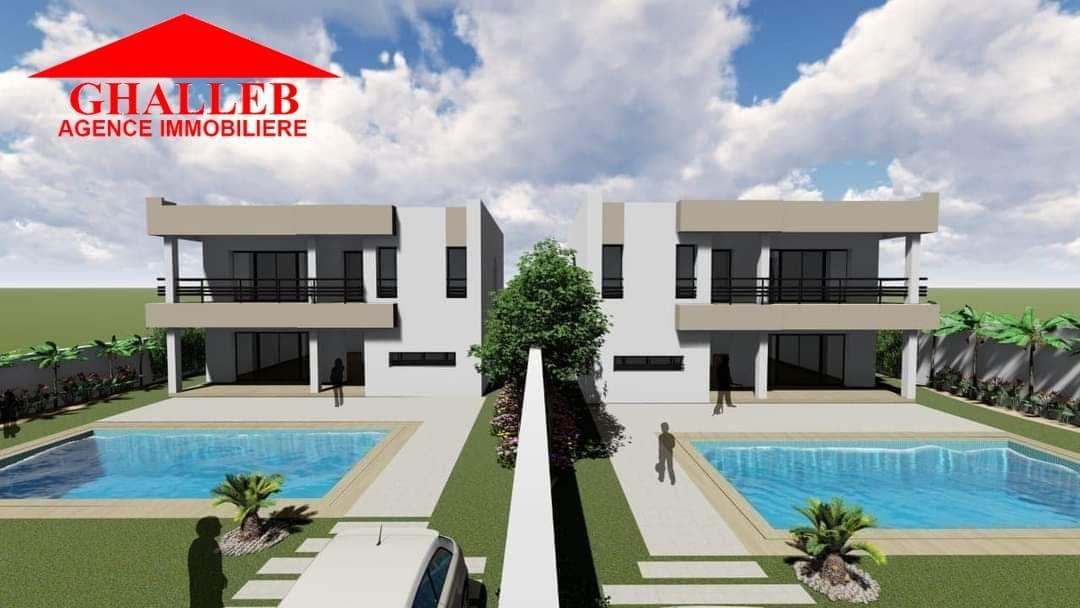 Deux villas jumelles  jumelés av à la comapagne de hammamet b