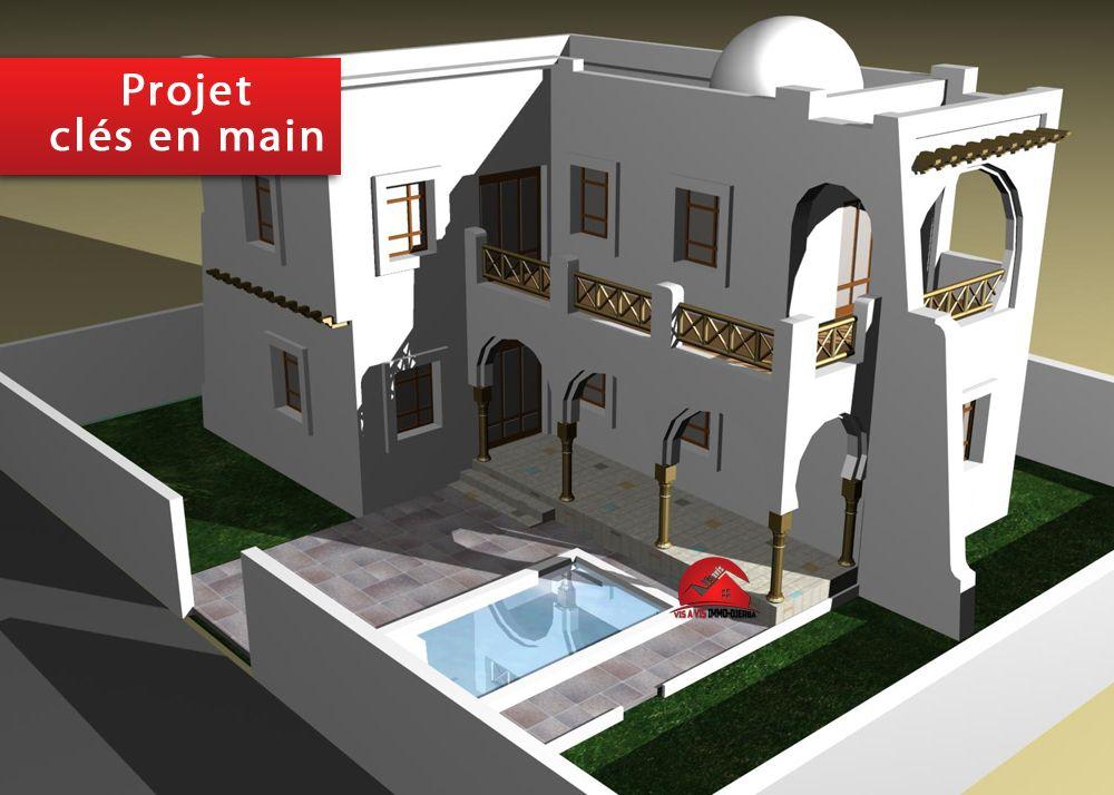 A vendre une villa avec Étage projet clÉ en main a houmt souk dje