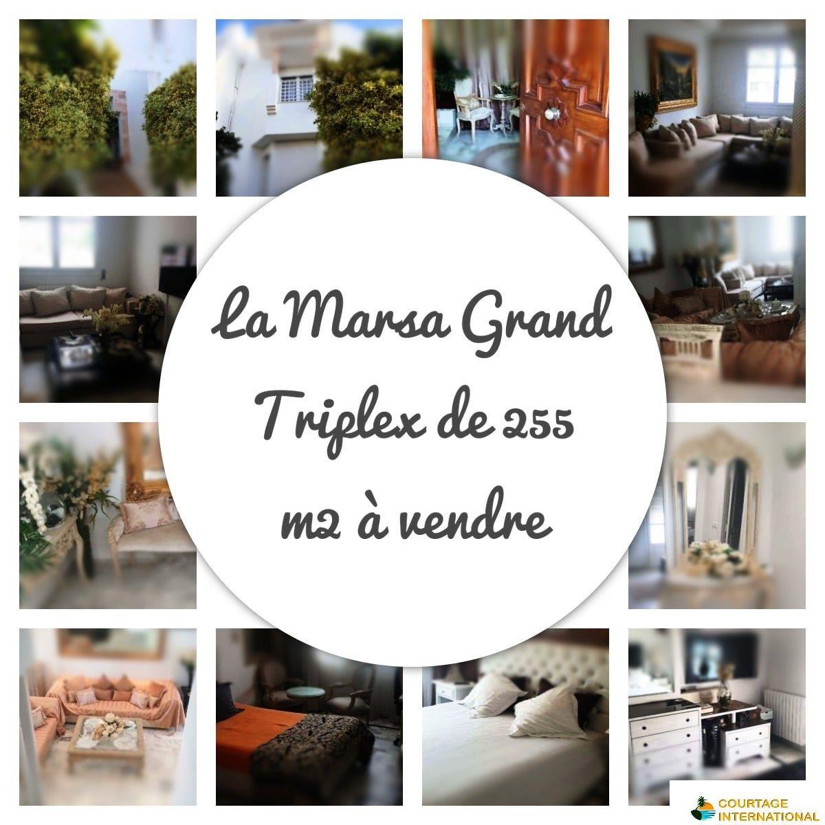 Marsa trés beau triplex 255 plus un loft studio au sous sol