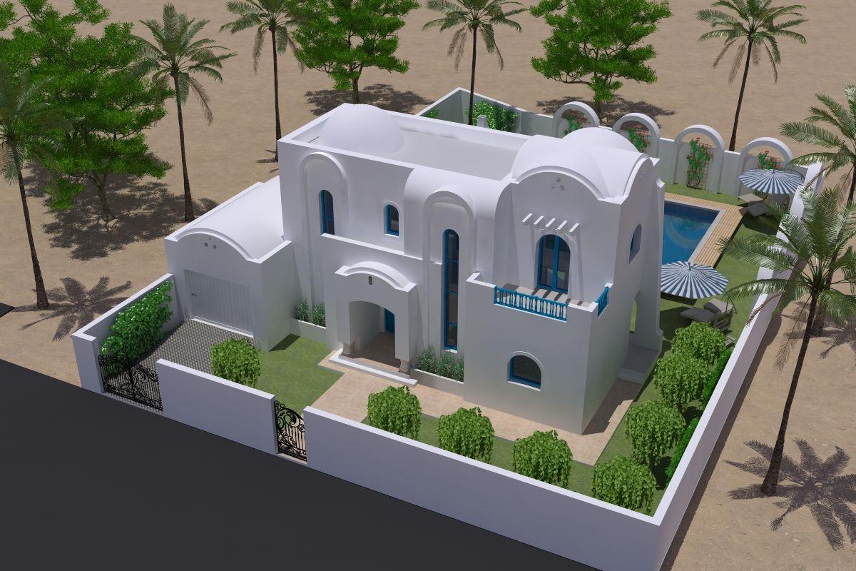 Villa avec piscine 300m plage vendre djerba zone for Model jardin villa