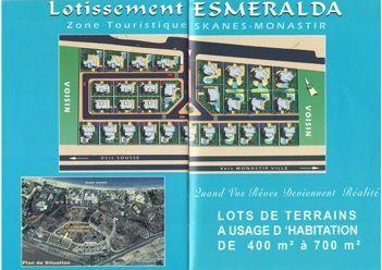 A vendre lots de terrains lotissement esmeralda skanes-monastir